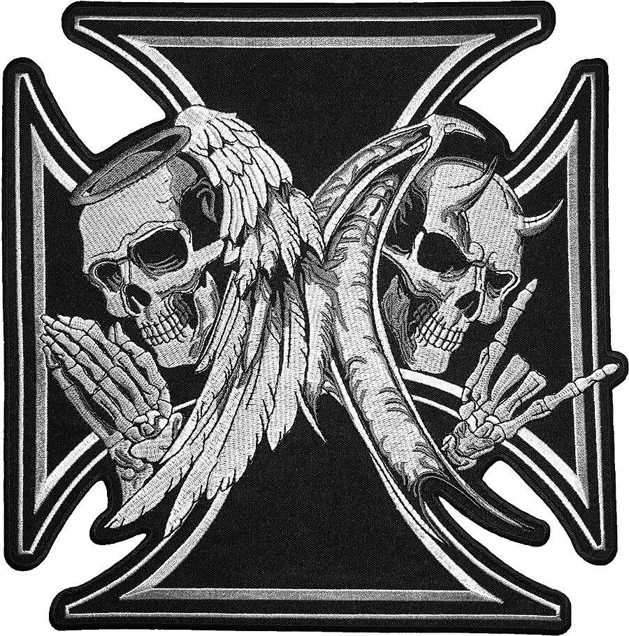 """3.4/"""" maltese cross devil triple skulls biker motor Embroidered iron on PATCH"""