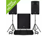"Pair Mackie Thump 15"" Active Powered DJ PA Speakers & 18S Subwoofer Stands 3200W & Subzero Mixer"