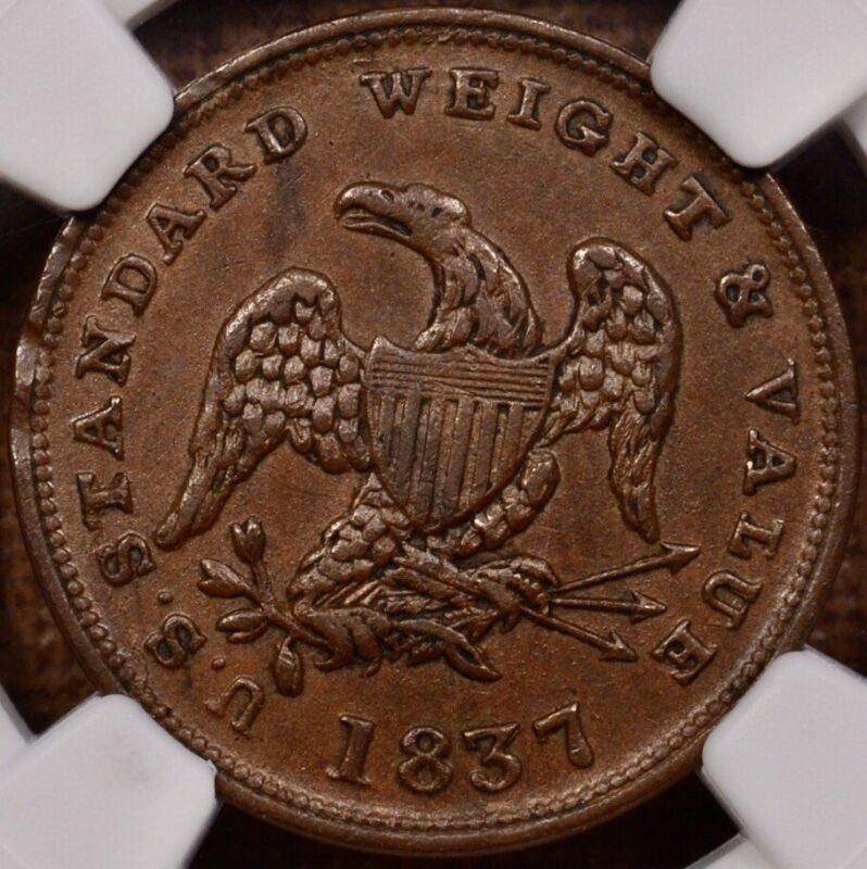 1837 Half cent Token, HT-73, NGC AU58 BN, nice & original     DavidKahnRareCoins