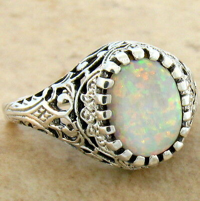WHITE LAB OPAL ANTIQUE FILIGREE DESIGN 925 STERLING SILVER RING SZ 6, #629