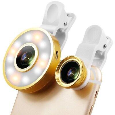 Fill Light Kit (6in1 Universal Selfie LED Flash Fill Light Wide Angle Multi Clip Camera Lens)