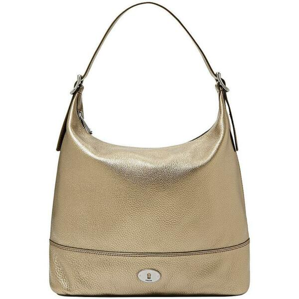 FOSSIL MARLOW SHOULDER METALLIC GOLD LEATHER BAG - NWF