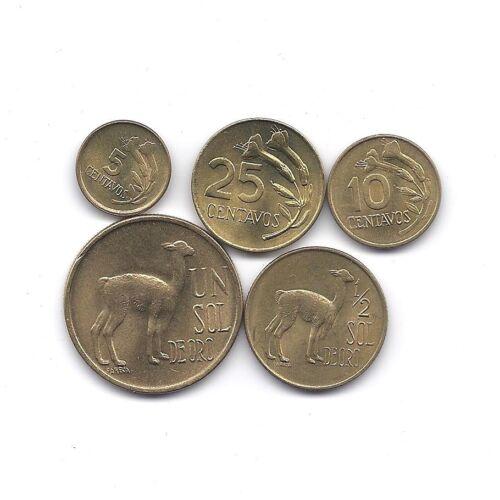 PERU  5 HIGH GRADE FLORA AND FAUNA COINS SET LAMA