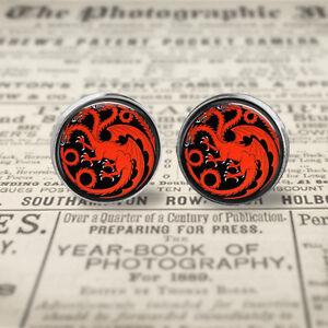 Game of Thrones House of Targaryen 10mm/12mm Post Earrings, Gift Box.