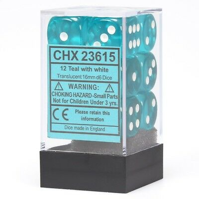 CHESSEX 16MM Translucent STANDARD DICE SET OF 12 DICE TEAL WITH WHITE PIPS