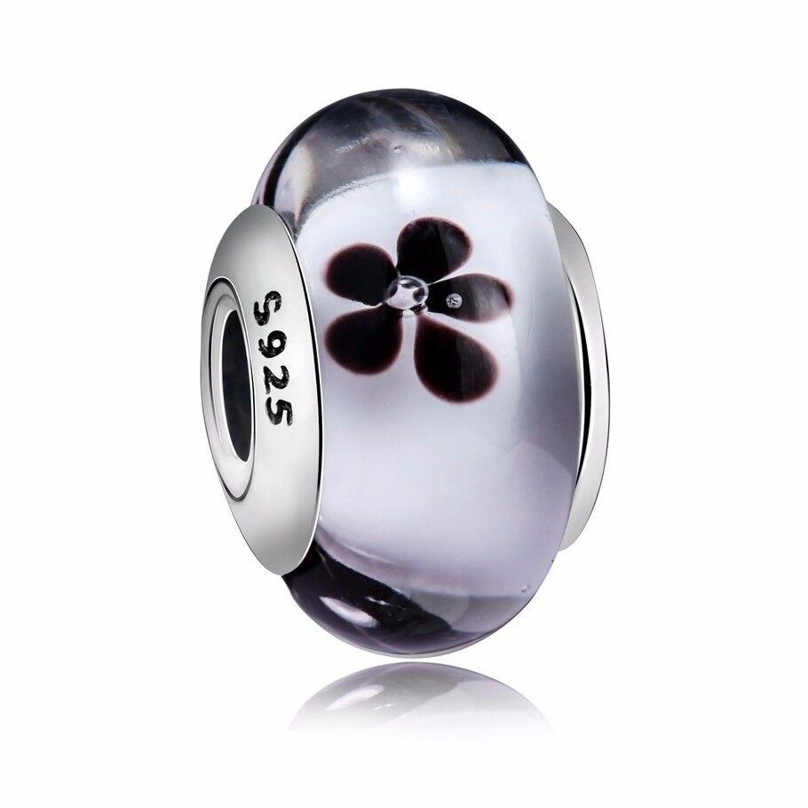5pcs SILVER MURANO BEAD LAMPWORK Fit European Charm Bracelet 064