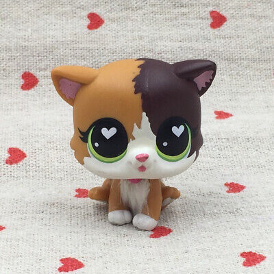 Littlest Pet Shop toys lps 5 little cat cute yellow kitty with Heart shaped eyes