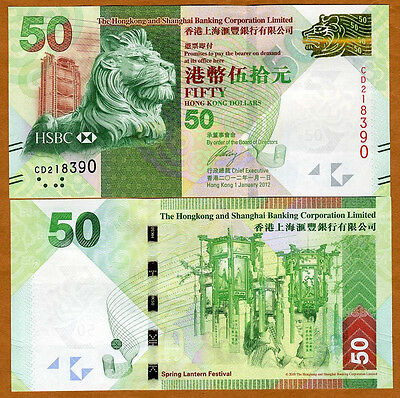 Hong Kong   50  2012  Hsbc  P 213B  Unc   Lion