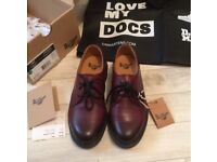 Dr Martens, size 4, cherry red, Virginia 1461 + original box + FREE 'Love my Docs' shopping bag