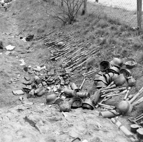 WW2 WWII Photo German Equipment Surrendered Rifles & Helmets  World War Two 2651