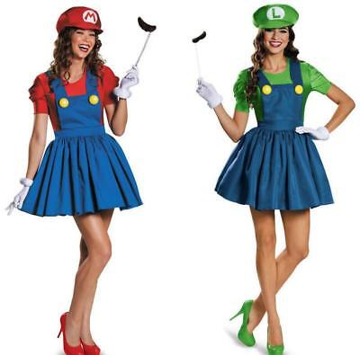 Super Mario Luigi Bro. Träger Kleid Rock Party Fasching Halloween Damen Kostüm