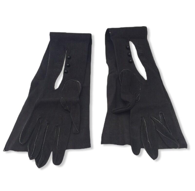 """Estate Vintage 22.5"""" Long Roeckl Black Kid Skin Leather Size 35 Opera Gloves"""