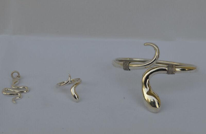 Snake Silver Set Bracelet Pendant Ring Earrings - Minoan Crete Symbol of Healing