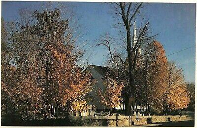 Francistown New Hampshire NH Countryside Autumn Church Cemetary Scene Postcard