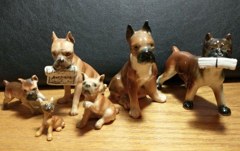 Vintage Ceramic Miniature Boxer Dog Figurines (6) - Made in Japan
