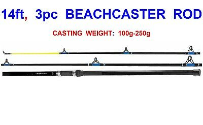 FISSION 3pc 14ft BEACHCASTER ROD FOR SEA SURF BEACH PIER FISHING COD BASS FLATTY