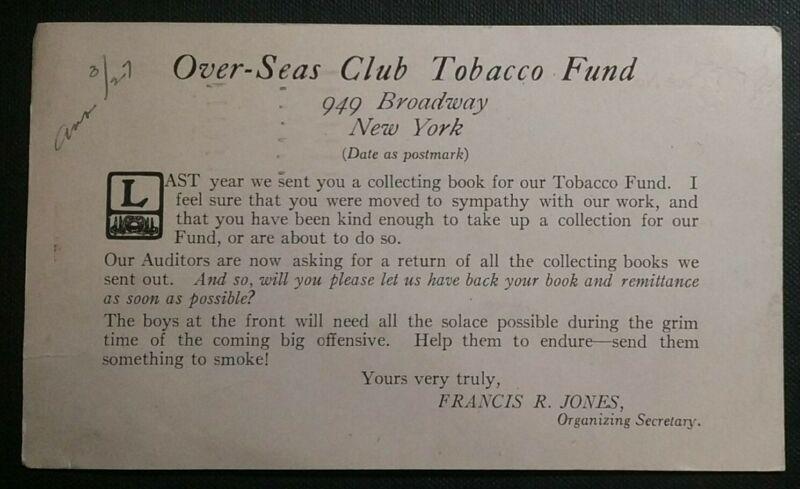 Over-Seas Club Tobacco Fund NYC WWI USA Cigarettes Drive British Soldiers 1917