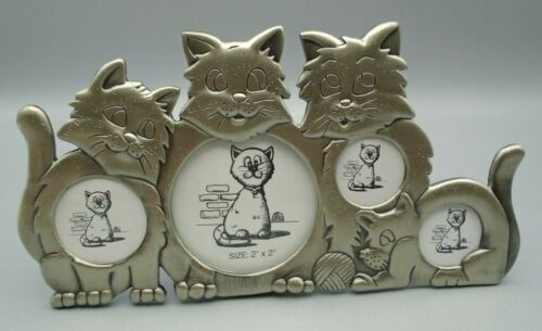 Kitty Cat Silver Tone Frame Holds 4 Photos