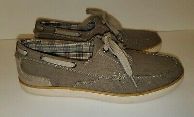 Mens Clarks 1825 Brown Canvas Deck Shoes Size 11M