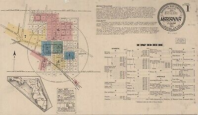 Marianna, Florida~Sanborn Map© sheets~18 maps on a CD in color~1884 to 1922