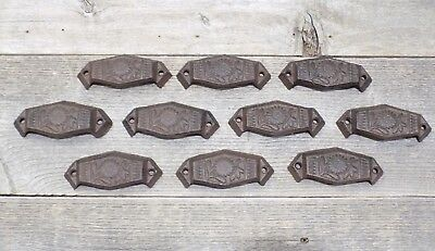 10 CAST IRON FANCY CUP PULLS DRAWER CABINET BIN HANDLES RUSTIC VINTAGE - Cast Iron Drawer Pulls