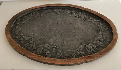 Antique Arts And Crafts Oval Wood & Hammered Pewter Tray Metal Floral Decorative