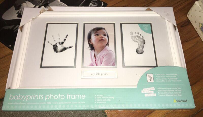"NEW Baby Prints Photo Frame ""My Little Prints"" Handprint Footprint Pearhead Awww"