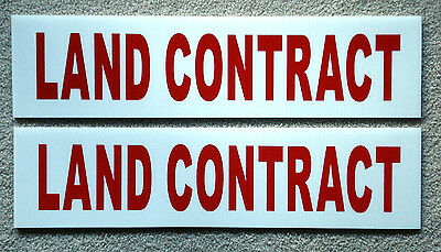 2 Land Contract 6 X 24 Real Estate Sign Riders 2 Sided Outdoor New Free Ship