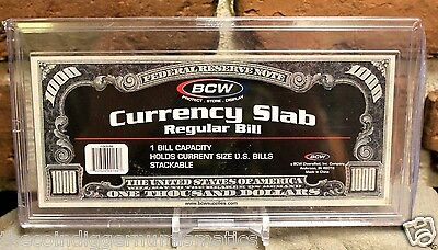 BCW Deluxe Currency Slab Dollar Bill Case Regular Banknote Size Archival Holder