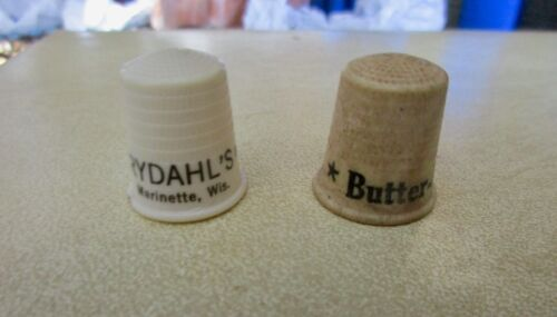 VINTAGE Thimble Lot 2 Advertising RYDAHLS CLEANING MARINETTE WI BUTTER COFFEE 2