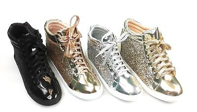 Womens Glitter Lace up Comfortable High Top Sneakers Forever Link Sparkle-25 - High Top Sparkle Sneakers