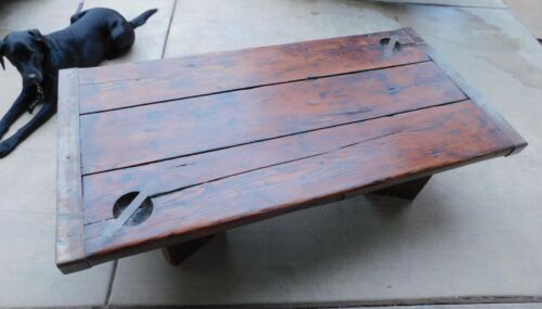 WWII Era Liberty Ship Hatch Cover Coffee Table  Antique Furniture