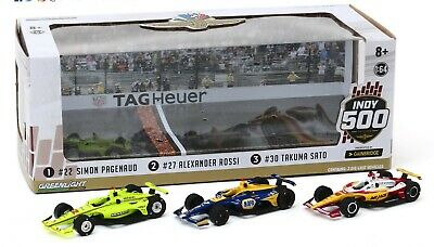 Greenlight 1/64 2019 Indianapolis 500 1st , 2nd, and 3rd place Podium Pack  Set