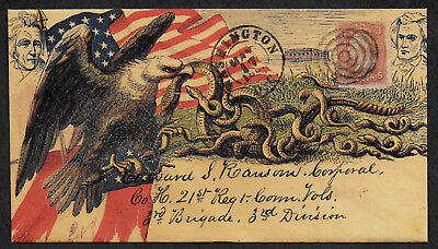 Civil War collector envelope reprint w original period stamp 155 years old *A23