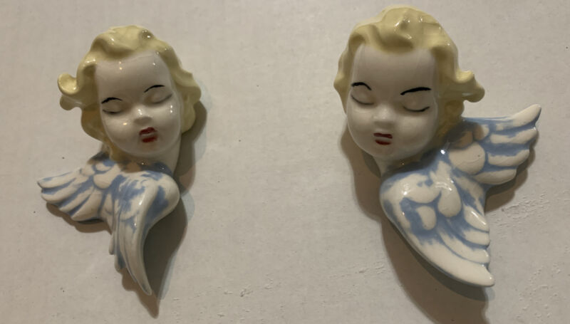 Vintage Studio Art Ceramic Angels Hand Painted, Wall Hanging, dated 1965