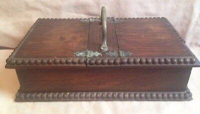 Vintage Antique Old dark Wooden wood Cigar Pipe smoke hinged trinket Box handle