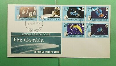 DR WHO 1986 GAMBIA FDC SPACE HALLEYS COMET CACHET COMBO  g13438