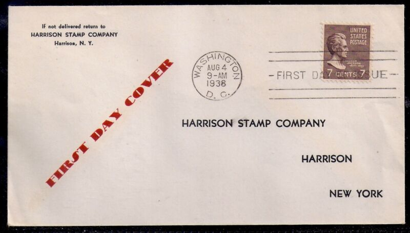 1938 7c Jackson FDC by Harrison Stamp Company - 812 Prexie - Harrison, New York