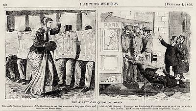 STREETCAR QUESTION, HARPERS CARTOON 1868, Men Chivalry Safety Street Railroads