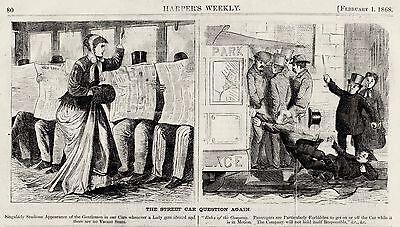 STREETCAR QUESTION, HARPERS CARTOON 1868, Men Chivalry Safety Street Railroads