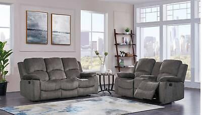 3118 Mocha Chenille Fabric Reclining Sofa and Loveseat Living Room Set - 2 piece