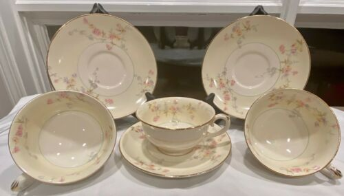 Vintage POPE GOSSER CLEMENTINE (1126) Footed Cup & Saucer - Set of 3