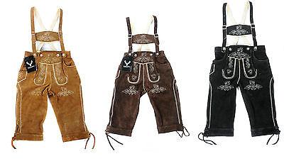 Kniebund Trachten Lederhose Kinder Neu Echt Leder braun camel schwarz Gr.80-176 online kaufen
