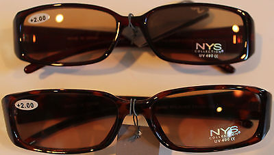 NYS Reading Glasses 2.00 Strength Red Tinted and Brown (Nys Glasses)