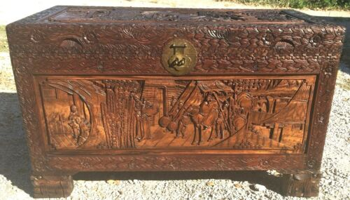 Large Vintage Hand Carved Chinese Camphor Wood Storage Trunk Hope Chest