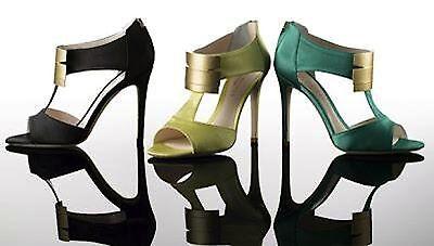 NWB $625 Coye NOKES Cleopatra sandals heels satin shoes Emerald 37 EU  7 US