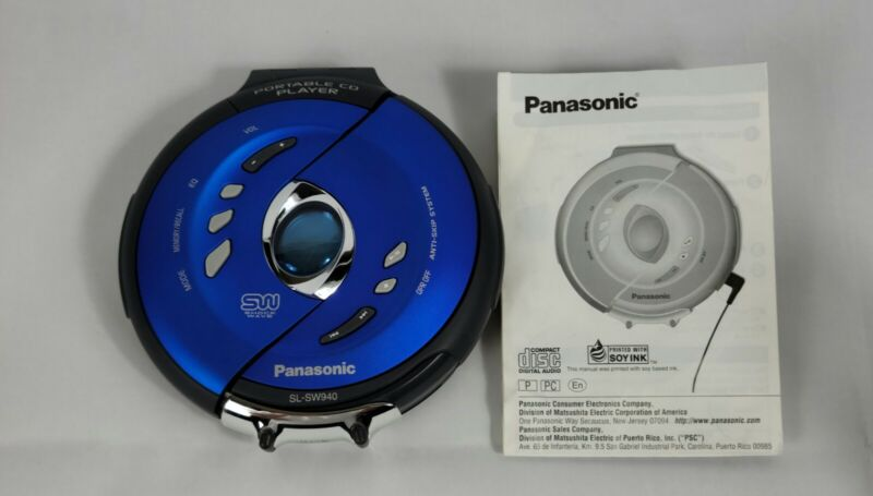 Panasonic SL-SW940 Blue Portable CD Player Discman Shockwave Tested and Working