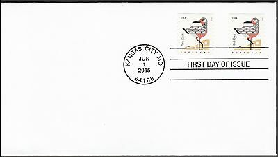 US 4997 Coastal Birds Red Knot (coil) FDC 2015