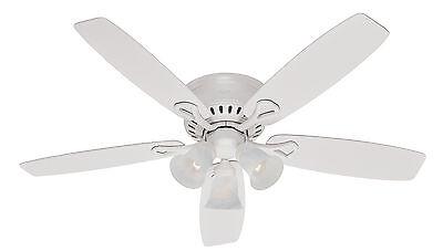 Hunter 52 white low profile flush mount ceiling fan free remote