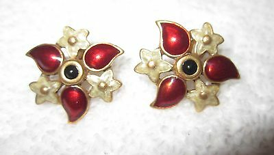 Enamel Floral Earrings Heritage Museum Russia National Gallery Red Gold Superb
